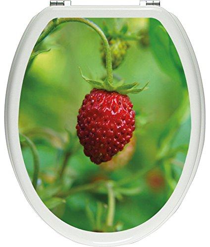 Pixxprint kleine Wilde Erdbeere als Toilettendeckel Aufkleber, WC, Klodeckel - Maße: 32x40 cm, Gläzendes Material Toilettendeckelaufkleber, Vinyl, bunt, 40 x 32 x 0.02 cm