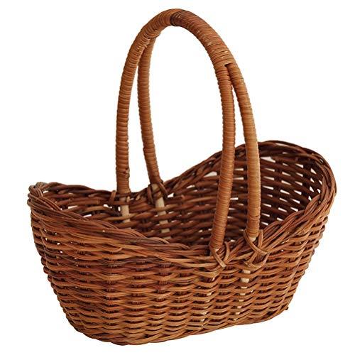 Cesta de mimbre portátil de mimbre para almacenar verduras y frutas, cesta para pan de boda, caramelo, flores, cesta tejida a mano, madera, natural, Medium