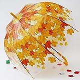 BDDLLM Parapluie Transparent PVC Long Manche Apollo Automne Princesse Parapluie Champignon en Plastique Transparent Femelle Pluie Parapluie Vert Rouge FeuillesJaune