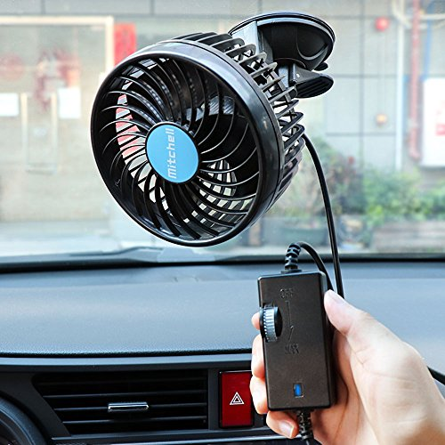 Ventilador Coche Mechero Portatil Electrico Silencioso 12V Mini Fan de 360 Grados Rotativo 2 Soportes Velocidad Ajustable para Caravana, Furgoneta