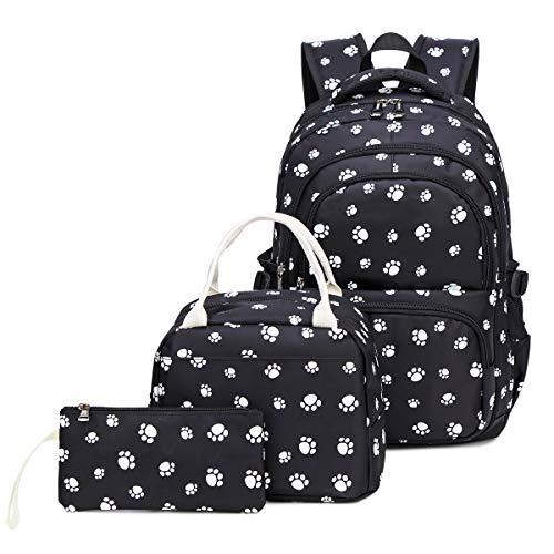 Geagodelia 3 Teile Schultaschen-Set Große wasserdichte Schulrucksack + Kühltasche + Mäppchen mit Stylische Paws Muster für Mädchen Teenager Damen (Schwarz)