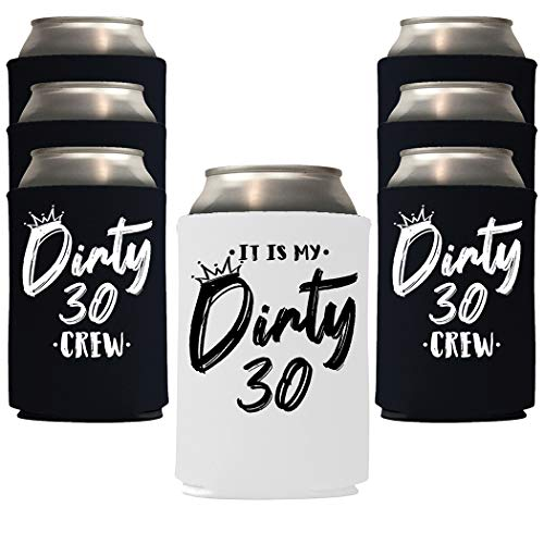 Veracco It Is My Dirty 30 Years Thirth Birthday Gift For Dirty Thirty Crew Party Favors Decorations Can Coolie Holder (Black/White, 6)