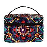 Bolsa de maquillaje tribal vintage étnico floral de viaje bolsa de maquillaje grande bolsa de cosméticos organizador con cremallera para mujeres y niñas
