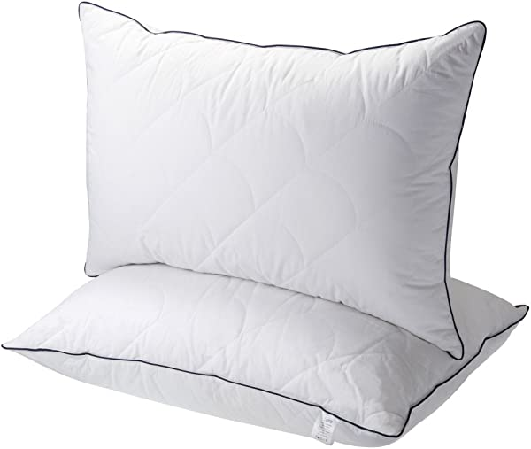 适合睡觉的紫貂枕头 2 个装酒店收藏床枕头与 FDA 注册豪华羽绒替代可调节柔软缓解颈部疼痛适合侧卧和背部卧铺大号