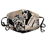 niBBuns 2021 Grunge Style Illustration of African Musician with Sunglasses Playing Trumpet,Mouth Cover for Women,Face Mask Reusable Washable Cloth for Men