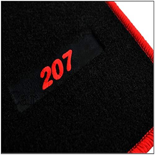 Car Lux AR02818 - Alfombras Alfombrillas Medida Edition Velour Ribete Rojo para el 207