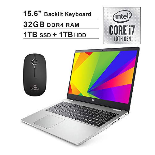 2020 Dell Inspiron 15 5593 15.6 Inch FHD 1080P Laptop (Intel Core i7-1065G7 up to 3.9GHz, 32GB RAM, 1TB SSD (Boot) + 1TB HDD, Backlit KB, FP Reader, Win10) + NexiGo Wireless Mouse Bundle