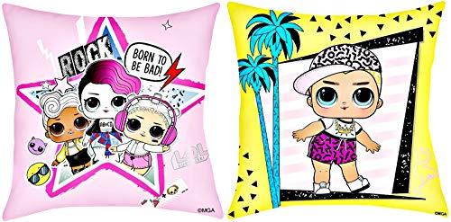 L.O.L. Surprise! 2 Kuschelkissen im Set, Kissen 40 x 40 cm, rosa & gelb, LOL