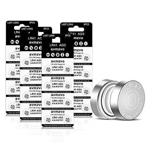 LR41 Knopfzelle Batterien AG3 Batterie LR 41 Knopfzellen (32 Stück) 1.5V Alkaline Ohne Quecksilber 392 SR41 192 【3 Jahre LagerGarantie】