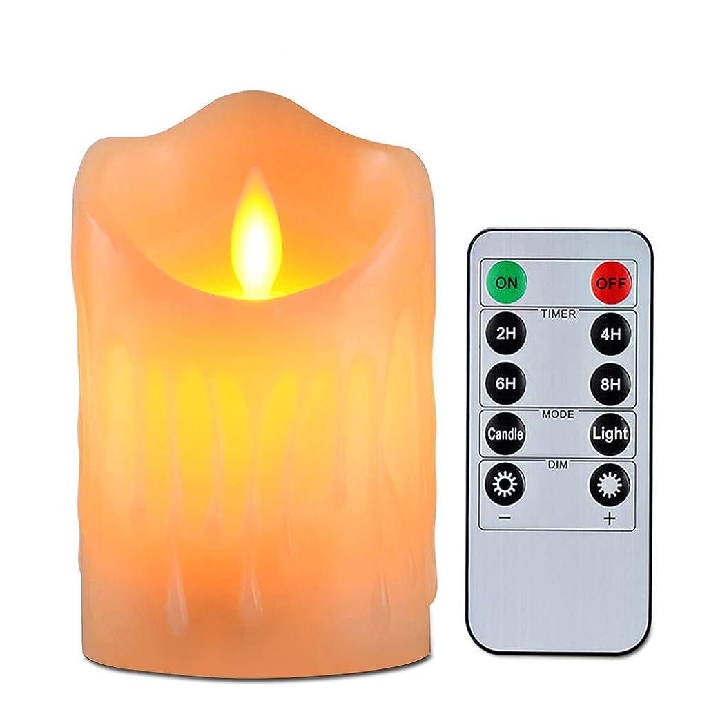 試みる韓国に関してキャンドルライト、揺らぐ炎とワックスを垂らすのリアル感、単4形電池式(別売り)暖色光ledろうそく燈、リモコン付き、2/4/6/8時間を自動消燈設定、明るさも調整できる、パーティー、祈願、誕生日、記念日や結婚式により良い雰囲気作りが最適です、直径:7.5cm、高さ:8.5cm
