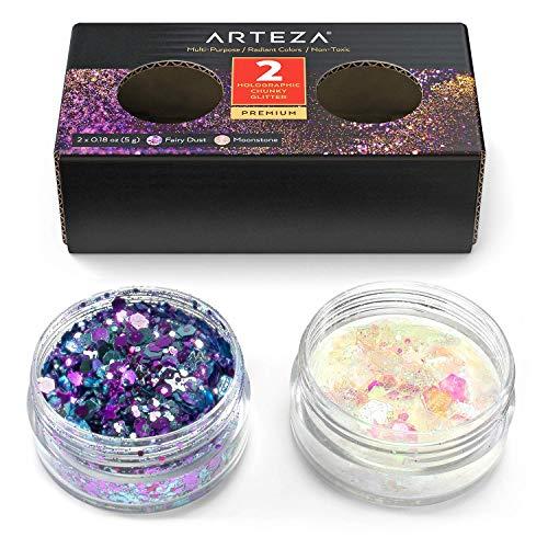 Arteza Chunky Glitter Set, 2 holographische Farben (Feen Staub & Mondstein),5 g Gläser Bastelglitzer, grober Glitzer Deko für Nägel, Epoxidharz und Bastelprojekte