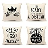 4TH Emotion Halloween Funny Saying Throw Pillow Cover Cushion Case for Sofa Couch 18 x 18 Inches Cotton Linen, Set of 4