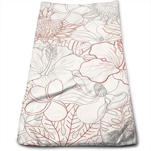 YudoHong Patrón sin Fisuras de Flores Tropicales con Flores Blancas exóticas Dibujadas a Mano de Hibiscus Protea Magnolia y Plumeria y Hojas de Palma con Coloridos