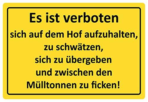 Metalen bord 30 x 20 cm Het is verboden hof vuilnisbakken spreuk humor schild Tin Sign