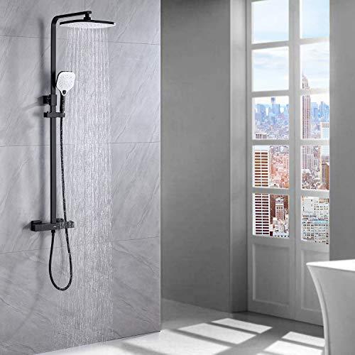 Auralum columna de ducha con termostato negro, Set de ducha con grifo, 25 * 20 CM ducha de lluvia y 3 Funciones Ducha de Mano, Altura Ajustable