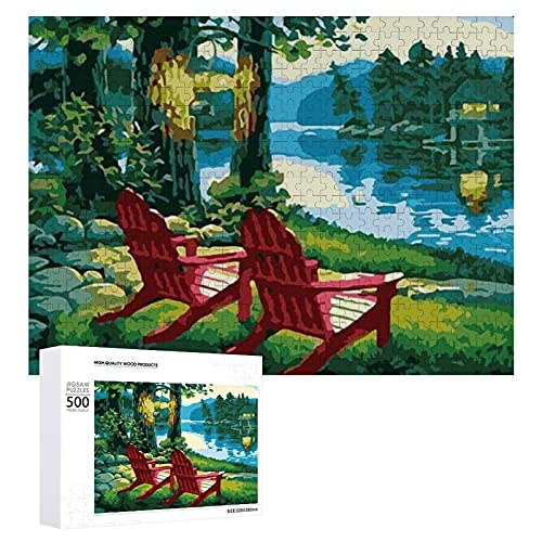 LHM Lakeside Lounge stol gör-det-själv 500 bitar pussel för vuxna pusselset för familj trä pussel hjärnutmaning pussel för barn barn vuxna