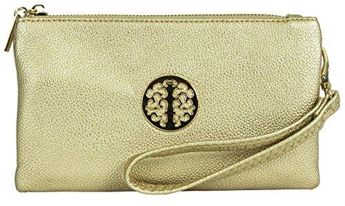 Big Handbag Shop Womens Faux Leather mini borsa sacchetto per il trasporto del, Oro