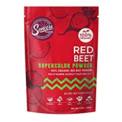 100% Organic Suncore Foods Red Beet Powder - 5oz Organic | Gluten Free | Non-GMO | No Preservatives | No Added Sugar Suncore Foods Red Beet Supercolor Powder is a great addition to drinks, smoothies, and baked goods. Fuel your workouts—and your day— ...
