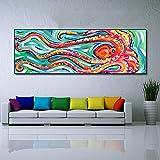 hetingyue Octopus décoration Toile Peinture à l'huile Salon Mural Salon Impression Animale Peinture décoration Murale Maison sans Cadre Peinture 50x150 cm