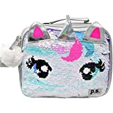 Love2design Unicorn Flip Sequins Pom Zipper Bag Lunch Box, One Size, White