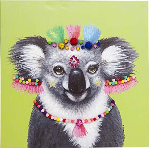 Kare Design beeld Touched Lama Pom Pom, XXL canvas foto op spieraam, wanddecoratie met lama, kleurrijk (h/b/d)