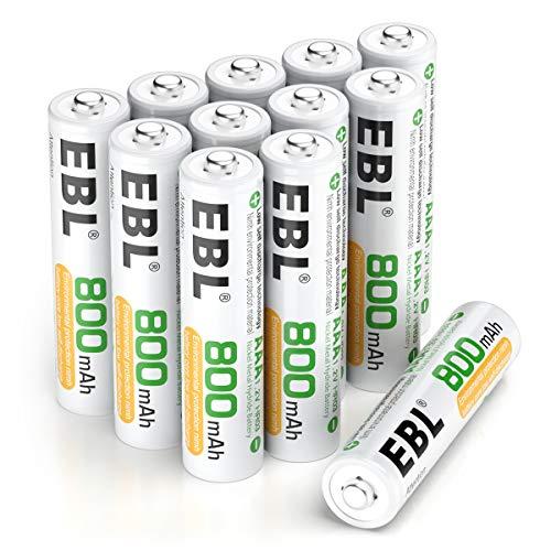 EBL AAA Akku 12 Stück, wiederaufladbare AAA Batterien, 1.2V NI-MH, 1200 Ladezyklen