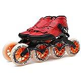 LLKK Rollers en ligne pour adulte/enfant – Patins à roulettes professionnels à une rangée de lames en fibre de carbone, chaussures de patinage pour débutants, sports d'extérieur/intérieur, compétition