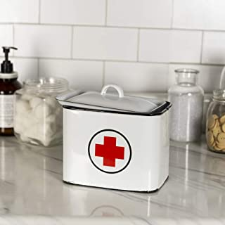 VIPSSCI White Enamel First Aid Box with Lid Vintage Inspired Metal Enamelware First Aid Storage Container