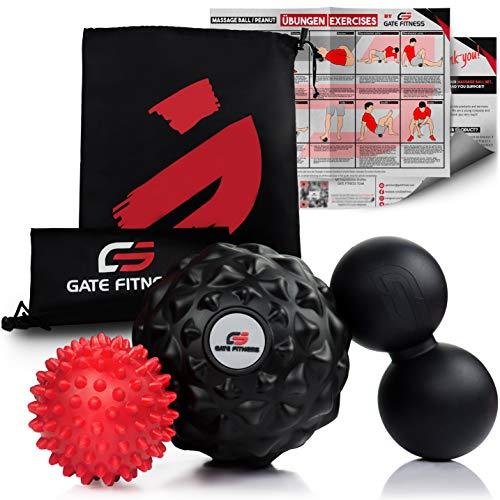 GATE FITNESS™ Massageball Set: Igelball, Faszienball mit Noppen, Lacrosse Duo-Ball- Faszienrolle für Selbstmassage und Triggerpunkttherapie der Wirbelsäule, Rücken, Nacken, Fußmassage | 3 Massagebälle