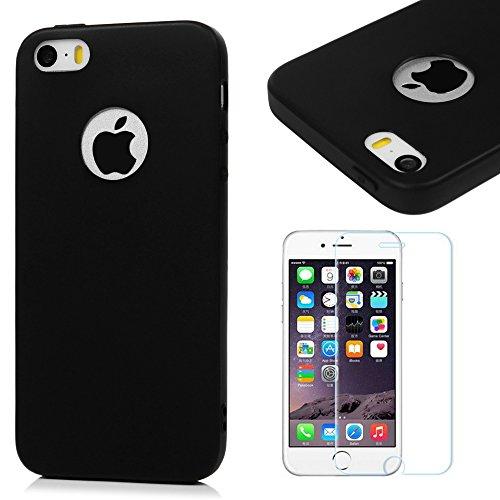 Funda iPhone SE, iPhone 5S Carcasa Silicona Gel Mate + Vidrio Templado Protector de Pantalla - Mavis's Diary Case Ultra Delgado TPU Goma Flexible Cover para iPhone 5/5S/SE - negro