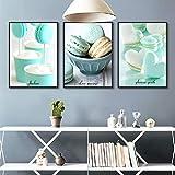 Delicious Cake Poster Art Print Macaron Canvas Painting Picture Home Wall Art Graffiti Pasillo Pintura Decoración moderna 11.8 'x19.7' (30x50cm) x3 Sin marco