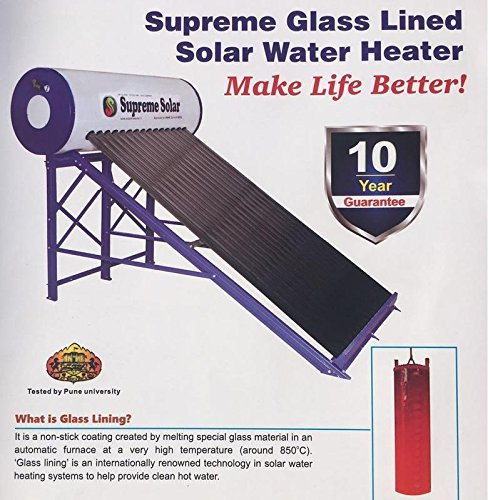 Supreme Glass Lined Solar Water Heater, Capacity 220 Lpd (White)