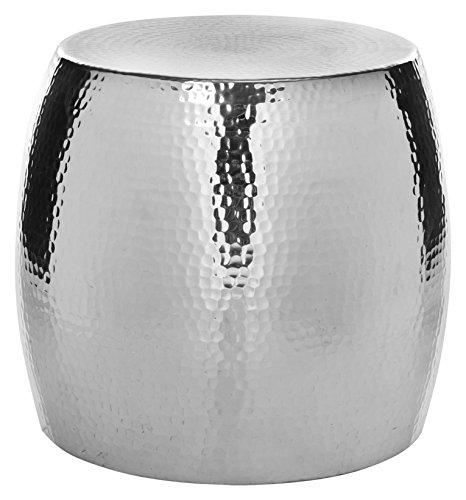 Safavieh Aubrey Round Runder Gehämmerter Hocker, Aluminium, Silber, 39 x 39 x 40.13 cm