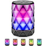 LED Light Bluetooth Speakers with Lights, LFS Night Light Wireless Speakers, Multi-Color Auto-Changing Diamond Shape Speaker, Built-in Mic,TF Card TWS Supported, for iPhone, Samsung Gaming PC