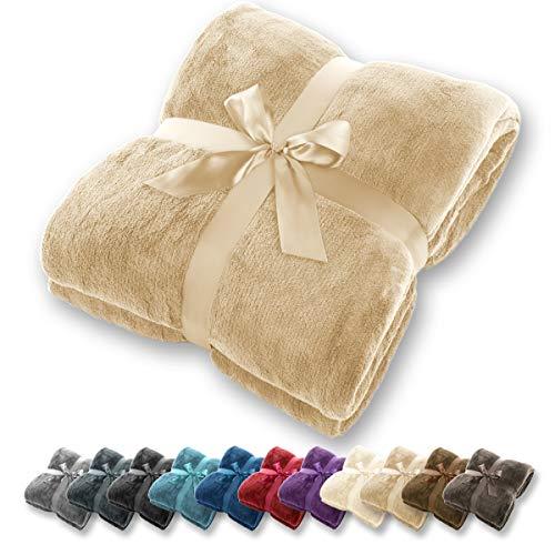 Manta Gräfenstayn - Muchos tamaños y colores diferentes - Manta de microfibra Manta para sala de estar Manta para cama - Fibra polar de microfibra de franela (Marrón claro, 240x220 cm)