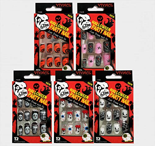 Vivace 5Pack 60Tips Press On Halloween Novelty Nails, Sticker Nails (Ghost)