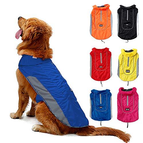 TFENG Reflektierend Hundejacke für Hunde, Wasserdicht Hundemantel Warm gepolstert Puffer Weste Welpen Regenmantel mit Fleece (Größe L, Blau)