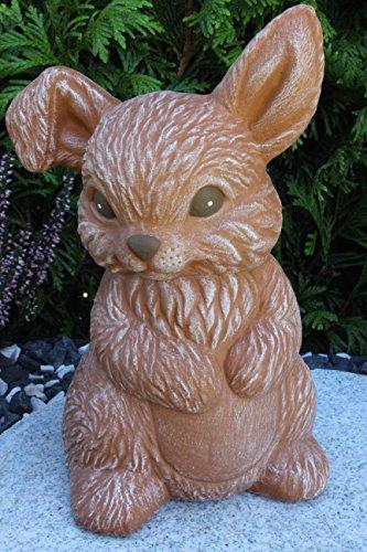 Steinfiguren Spicker Steinfigur Hase Zwergkaninchen sitzend 170/3 Gartenfigur Steinguss Tierfigur Terrakotta Patina