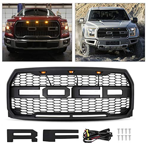 AAIWA Grille for 2015 2016 2017 F150 Front Grill Replacement, Raptor Style Grill Kit with Amber LED Lights, Matt Black