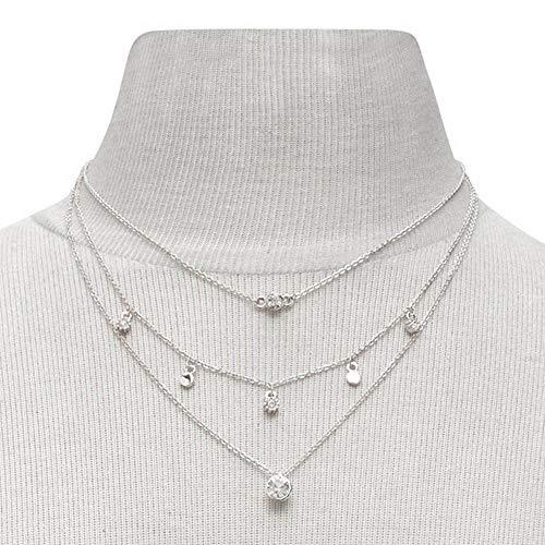 Jovono Collares de borlas de cristal multicapa para mujeres y niñas (plata)