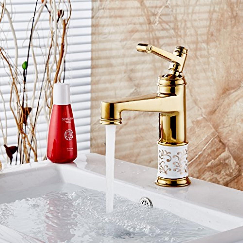 Bijjaladeva Wasserhahn Bad Wasserfall Mischbatterie WaschbeckenDas Kupfer VerGoldet Badezimmer Waschbecken Badezimmer Blaumen Keramik Küche Tap-Mischung Schraubenschlüssel