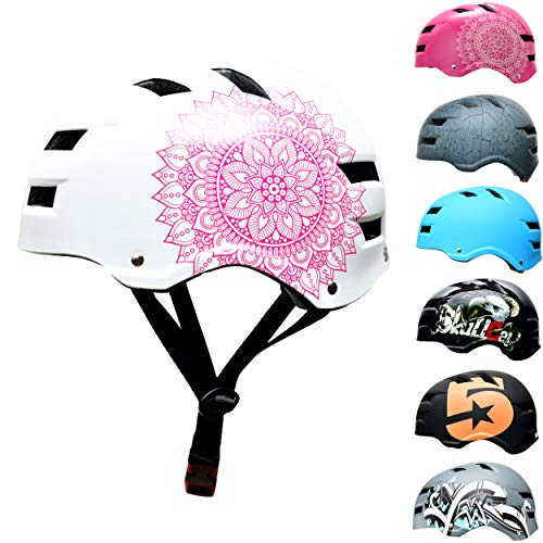 Skullcap® BMX Helm – Skaterhelm – Fahrradhelm – Herren Damen Jungs & Kinderhelm, weiß, Gr. M (55,58 cm), Pink Rosa Mandala