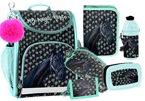 PASO schooltas met accessoires Horse paard 6in1 meisje zwart turquoise