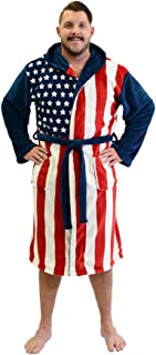 Patriot American Flag Adult Fleece Bathrobe USA Costume Robe Blue