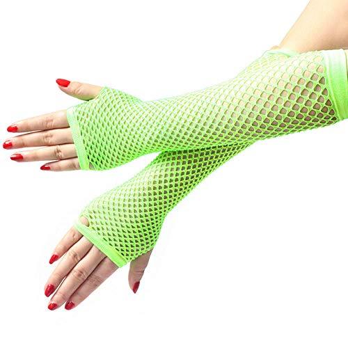 Damen und Mädchen Neon sexy Lange Fingerlose Mesh-Spitze hohe elastische Handschuhe handschoen zonder vingers Frauen Winter Handschuhe-Mint Green_China_a Größe