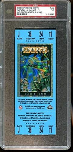 Super Bowl XXXVII 37 Full Ticket Blue Raiders v Bucs Jackson MVP PSA 5