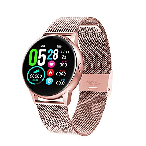 PHH DT88 Smart Watch Women Ip68 Waterproof 1.22 Inch Screen Heart Rate Blood Pressure for Android Apple Samsung Huawei Watch (Color : Metal Rose gold)