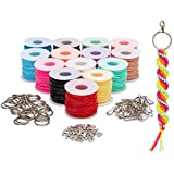 Lanyard Kit, Plastic String for Bracelets, Necklaces with Keychains (30 Yards, 104 Pieces)