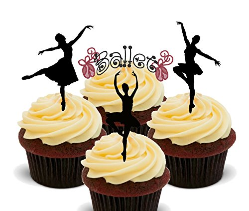Ballerina/ballet danser Silhouettes, eetbare cupcake toppers - stand-up wafer taart decoraties