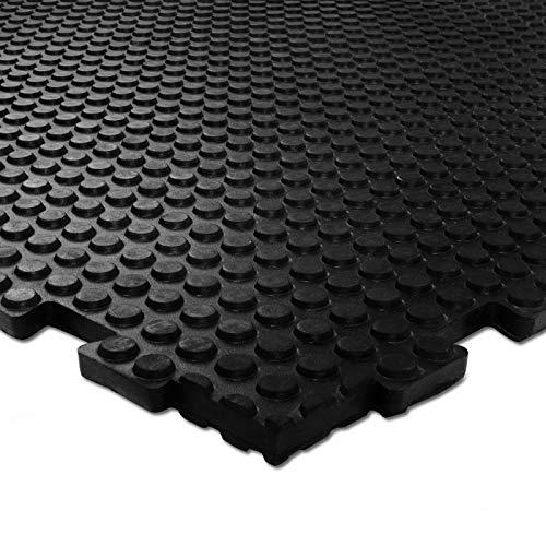 Gummifliese mit Stecksystem | 100x100 cm | Gummimatte als Garagenboden, Werkstattboden, Kellerboden, Industrieboden | rutschfest & ergonomisch | Bodenbelag für Innenbereich und Außenbereich